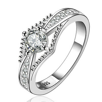 Women 925 Sterling Silver Plated White Gold Filled Wedding Engagement Band Ring*