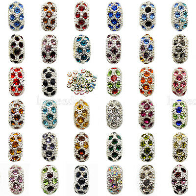Big Hole Rondelle Rhinestone Crystal Pave Charms Beads For European Bracelet