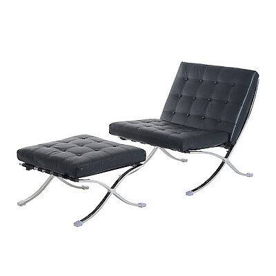 PROMOTION Sectional Barcelona Style Lounger Chair w/ Ottoman Padded Chaise