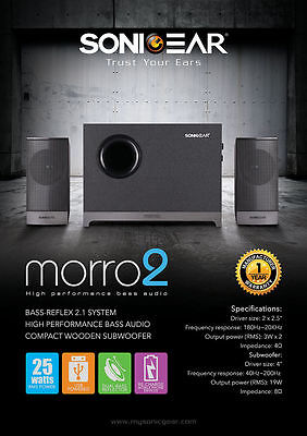 2.1 Computer PC Speakers with Wooden Sub Woofer for BASS SonicGear Morro2