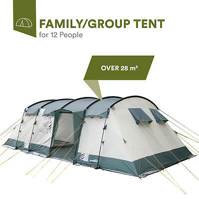 skandika Hurricane 12 Person/Man XL Camping Tunnel Family Tent Group Green New