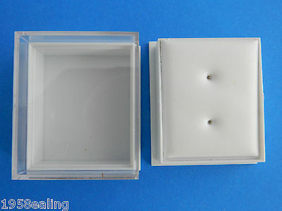 25 Plastic/Perspex Clear Lid Earring Display Gift Boxes White Leatherette Pads