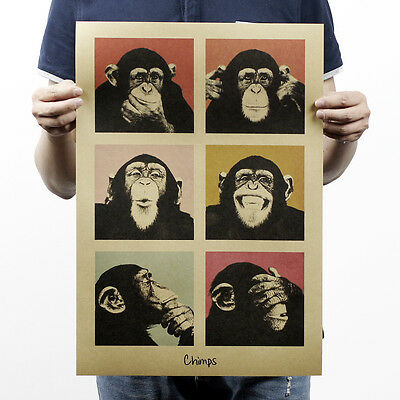 Funny Orangutans Poster For Wall Kraft Paper Material Design Animals Poster