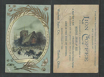 1890s LION COFFEE  OUTDOOR WINTER SCENE HOUSE  VICTORIAN TRADE CARD