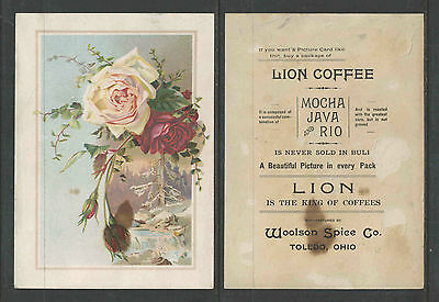 1890s LION COFFEE  OUTDOOR WINTER SCENE & ROSES  VICTORIAN TRADE CARD      LARGE