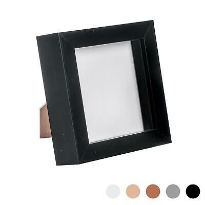 Box Picture Frame Deep 3D Photo Display 4x4 Inch Square Standing Hanging Black