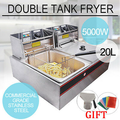20L 240V Commercial Electric Dual Tank Basket Chip Deep Fryer Stainless Steel