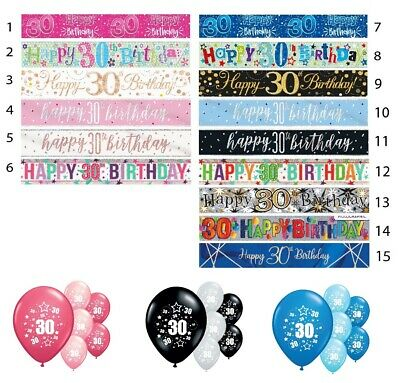 30th BIRTHDAY BANNERS PARTY DECORATIONS PINK BLUE BLACK WALL DECORATIONS