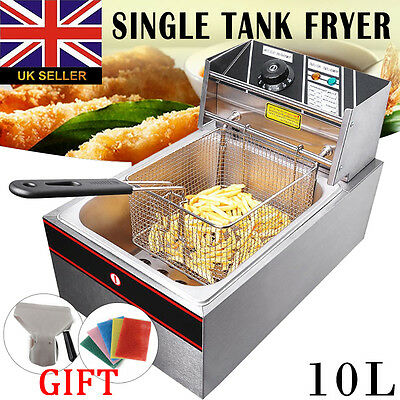 10L 2500W Stainless Steel Commercial Electric Deep Fat Chip Fryer Tank  New