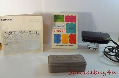 Vintage Sewing Machine Pedal Singer w/ Book Button Holer Metal Box Misc.