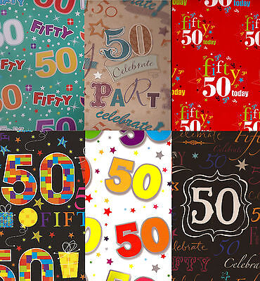 2 x SHEETS 50TH BIRTHDAY WRAPPING PAPER + 1 MATCHING TAG