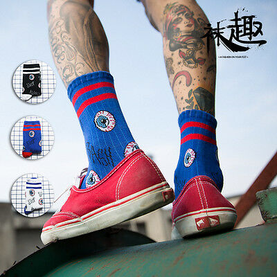 Red Eyes Striped Long Tube Skate Socks Not huf  EU 37 38 39 40 41 42