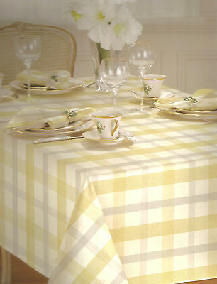 Lenox Winter Woven Plaid Metallic Silver Gold Holiday Anniversary Tablecloth