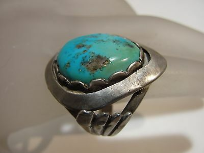 Antique Old Pawn Turquoise Sterling Silver  Big Ring Size 6.7