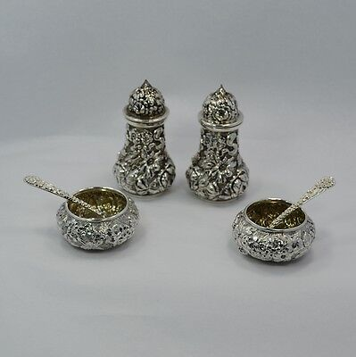 Repousse Sterling Condiment Sets - Stieff Shakers, B.S.S Co Salts, S Kirk Spoons