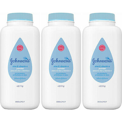 3 Pack - Johnson's Baby Powder Pure Cornstarch with Aloe & Vitamin E 4oz Each