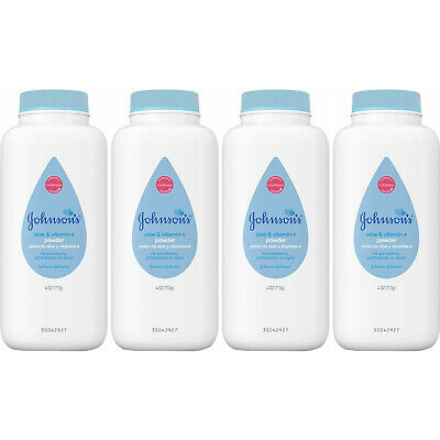 4 Pack - Johnson's Baby Powder Pure Cornstarch with Aloe & Vitamin E 4oz Each