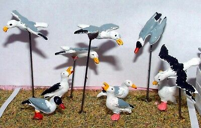 O Scale Unpainted Model Kits 10 Assorted Seagulls L28