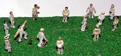 14 Figures Cricket Game + Stumps N Scale Metal Model READY MADE PAINTED A76p