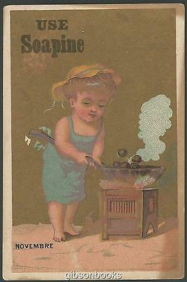 Victorian Trade Card for Soapine with Boy Roasting Chestnuts, Novembre