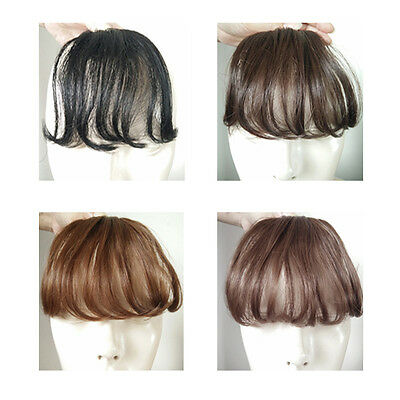 Womens Clip in Front Neat Bangs Straight Bangs Hair Air Extension Hairpieces