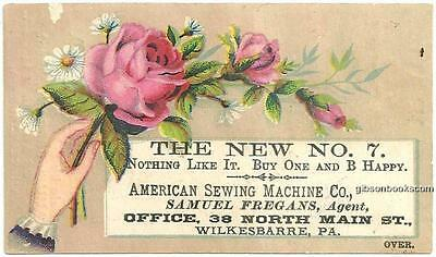 Victorian Trade Card for The New No. 7, New American Sewing Machines w/Flowers