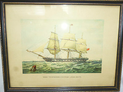 2 FRAMED SAILING SHIP PRINTS - The Windsor Castle & The Anglesea
