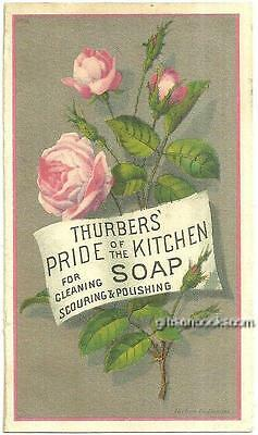 Victorian Trade Card for Thurbers' Pride of the Kitchen Soap with Pink Roses