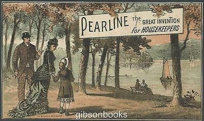 Victorian Trade Card for Pearline Washing Compound with Family at the Lake