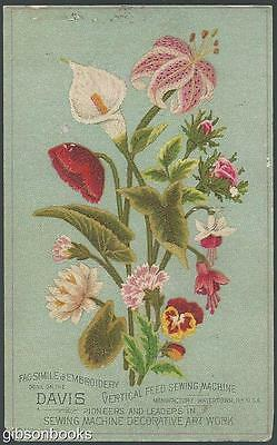 Victorian Trade Card for Davis Sewing Machine with Facsimile Embroidered Flowers