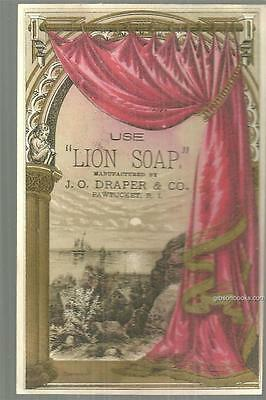 Victorian Trade Card for Lion Soap J. O. Draper & Co. Pawtucket, Rhode Island.