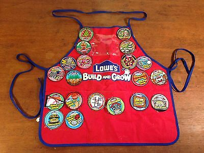 Children's Youth Lowes Build and Grow Red Apron with 20 Patches (J4)