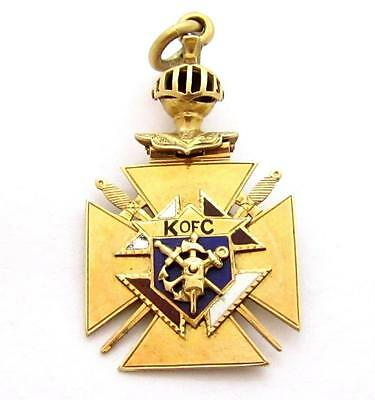 Vintage Knights Of Columbus 14K Solid Gold Articulated Pocket Watch Fob*d502