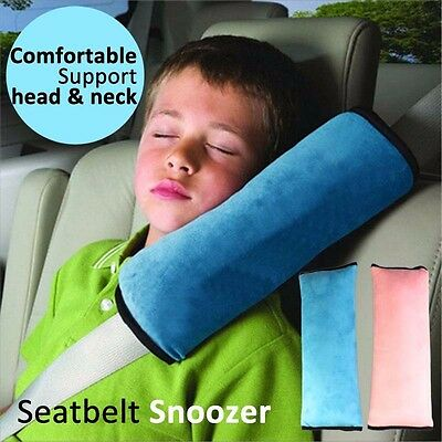 Seatbelt Snoozer soft pillow comfortable head neck secure safety blue pink child