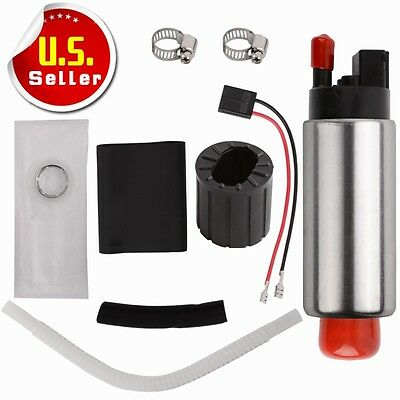 255LPH Center Inlet High Performance EFI Fuel Pump & Kit Replaces GSS340