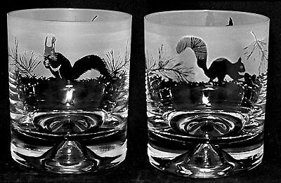 *SQUIRREL GIFT* Boxed Pair of GLASS WHISKY TUMBLERS with SQUIRREL FRIEZE