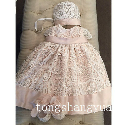 Cheap 2018 Baby Baptism Dresses White Ivory With Bonnet Christening Gowns 0-24 M