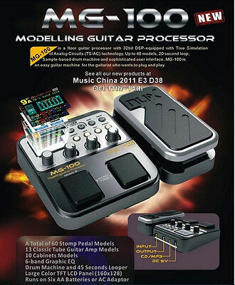 NUX MG-100 Power Electric Guitar Multi Effects Pedal Processor AMP 58 Effects