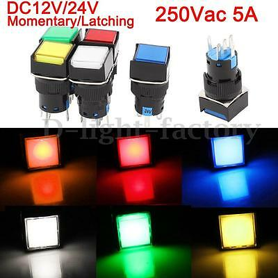 DC 12V/24V LED Light Push Button Switch Rectangular Momentary Latching 5 Pin