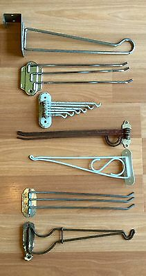 Old Vtg Metal Chrome Towel Tie Drying Plant Hanger Swing Arm Bracket Lot Of 7