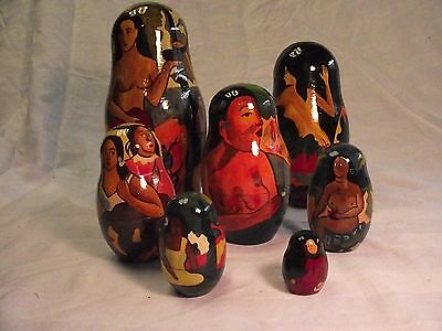 "Russian Nesting Dolls Gauguin South Sea Islands 7 Dolls 6-1/2"" to 1-1/8"""