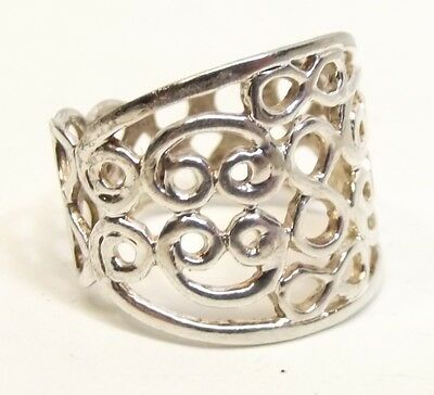Vtg Sterling Silver Filigree Ring Sz 8.75 Ornate Wire Wide Band Celtic Knot