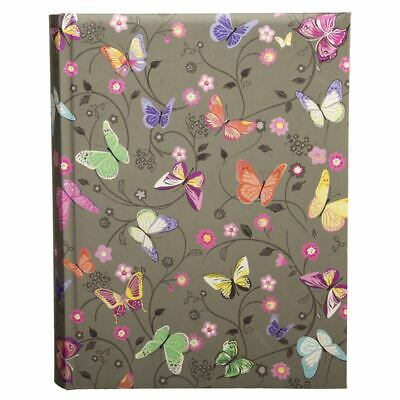 WHSmith Amelie Grey With Bright Butterflies Slip-In Photo Album Holds 200 6x4""
