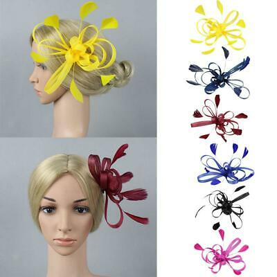Women Feather Fascinator Cocktail Wedding Party Headpiece Hair Clip Brooch