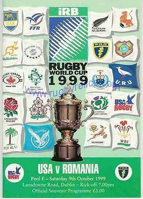 USA v Romania RUGBY WORLD CUP 1999 PROGRAMME