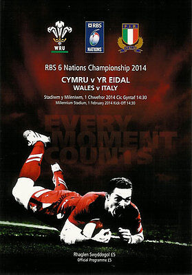 Wales v Italy RBS Six Nations Championship 1 Feb 2014 Cardiff RUGBY PROGRAMME