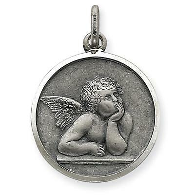 925 SS Polished and Satin Antiqued Raphael Angel Charm Pendant 27mm x 20mm