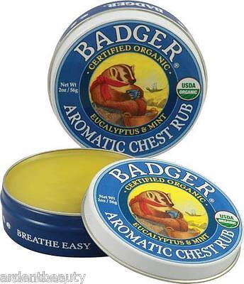 Badger Certified Organic Aromatic Chest Rub Balm 2 oz Natural Cold Cough Aid