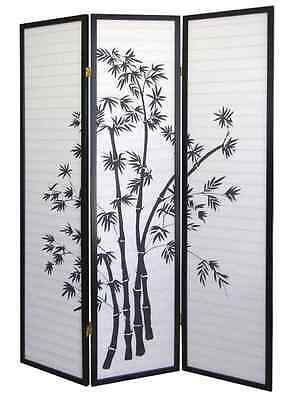 room divider privacy 3 panel folding screen wood frame japanese shoji style new
