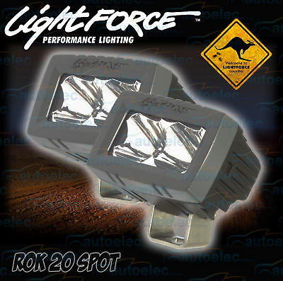 2x LIGHTFORCE ROK 20 SPOT CREE MARINE LED WORK LIGHT LAMP BAR 1700 LUMEN ROK20S